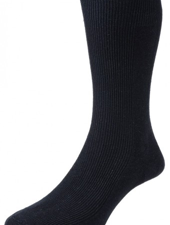 HJ Hall Executive Panelled Rib Cotton Rich Socks Black-0