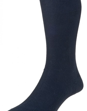 HJ Hall Executive Panelled Rib Cotton Rich Socks Dark Navy-0