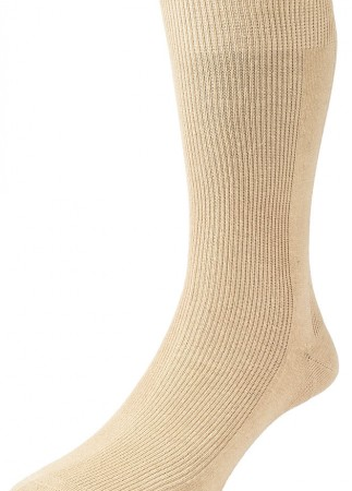HJ Hall Executive Panelled Rib Cotton Rich Socks Oatmeal-0