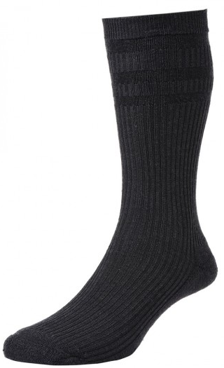 HJ Hall Softop Cushion Sole Wool Rich Socks Black-0