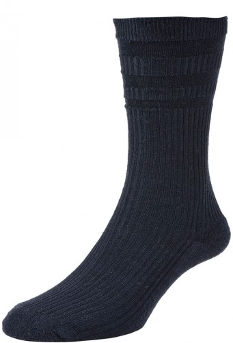 HJ Hall Softop Cushion Sole Wool Rich Socks Dark Navy-0