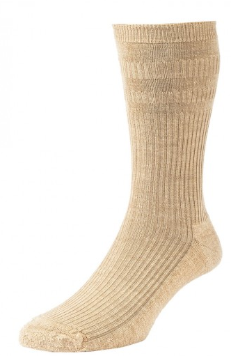 HJ Hall Softop Cushion Sole Wool Rich Socks Oatmeal-0