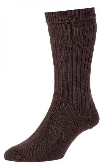 HJ Hall Softop Thermal Wool Rich Socks Dark Oak-0