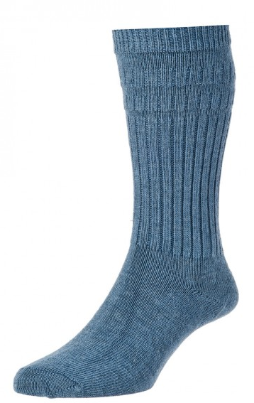 HJ Hall Softop Thermal Wool Rich Socks Slate Blue-0