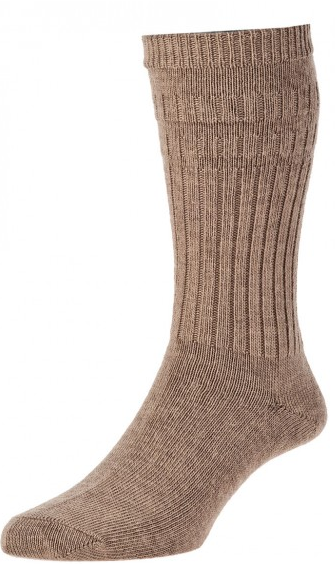 HJ Hall Softop Thermal Wool Rich Socks Taupe-0