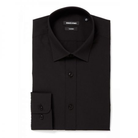 Remus Uomo Seville Tapered Fit Plain Black Shirt-0