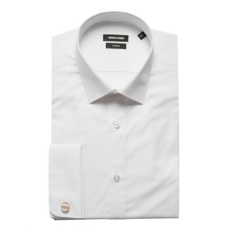 Remus Uomo Tapered fit Double Cuff White Shirt