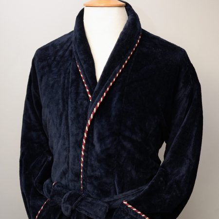 Bown of London navy velour dressing gown