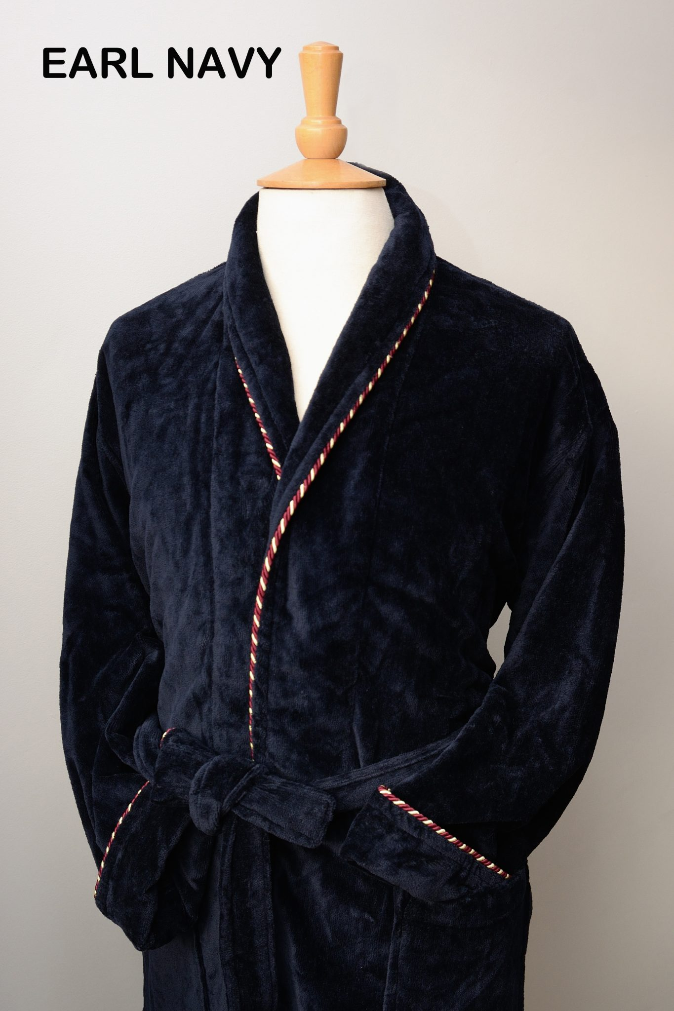 Bown of London navy velour dressing gown - Brooks Shops