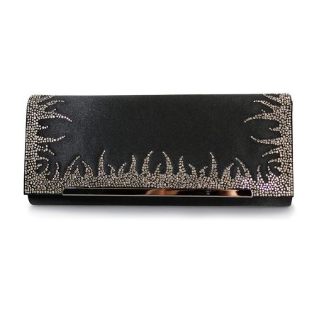 Lunar Flavia Black Satin Embellished Evening Bag