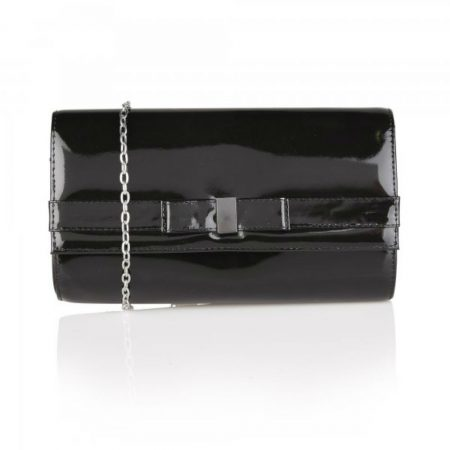 Lotus Camellia Black Patent Leather Evening Bag