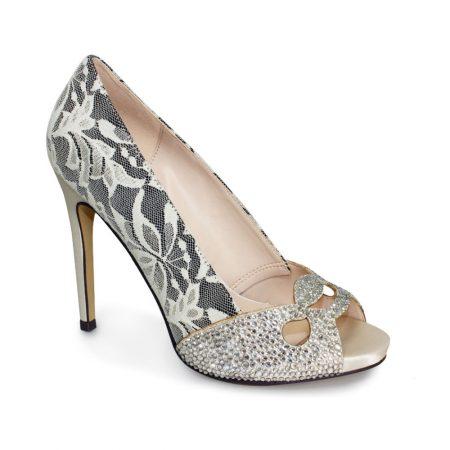 Lunar Beige Lace Embellished Dress Shoes