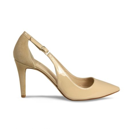 Lisa Kay Sofia Beige Leather Patent Heeled Dress Shoes