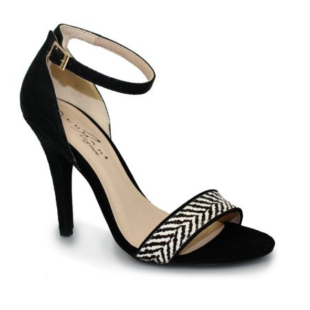 Lunar Susanna Black Animal Print Heeled Sandals