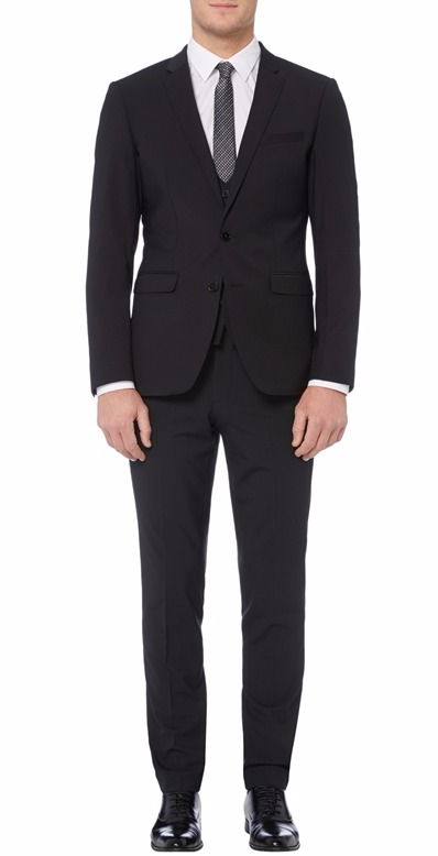 Remus Uomo tapered fit mix & match 3 piece black suit Waistcoat