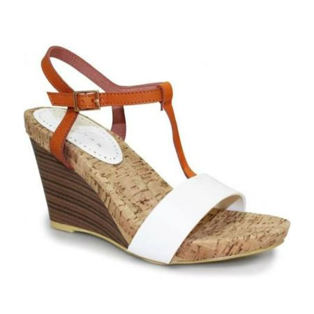Lunar Vivian White Tan Wedge Heel Sandals