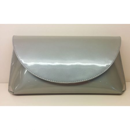 Lisa Kay Cosmo Silver Leather Patent Evening Bag
