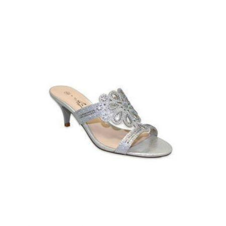 Lunar Glimmer Silver Embellished Heeled Mule Sandals
