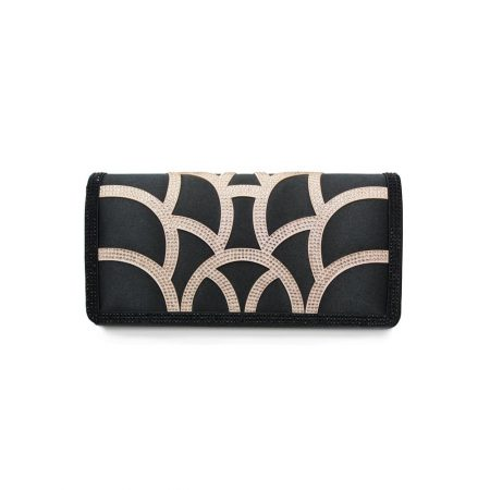 Lunar Fame Black Satin Evening Bag