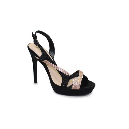 Lunar Fame Black & Nude Satin High Heeled Sandals