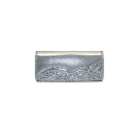 Lunar Glimmer Metallic Silver Evening Bag