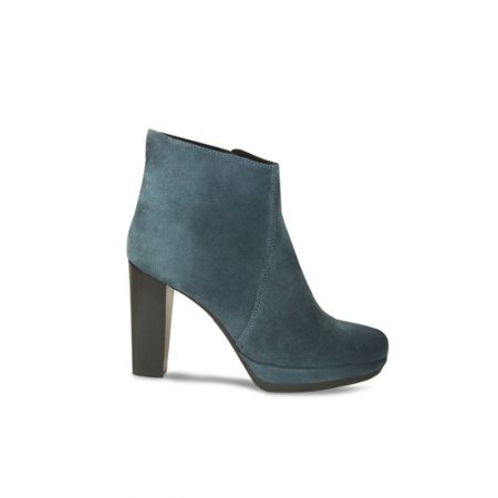 Lisa Kay Anouska Teal Leather Suede Heeled Ankle Boots