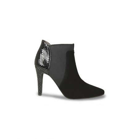 Lisa Kay Tila Black Leather Suede Heeled Ankle Boots