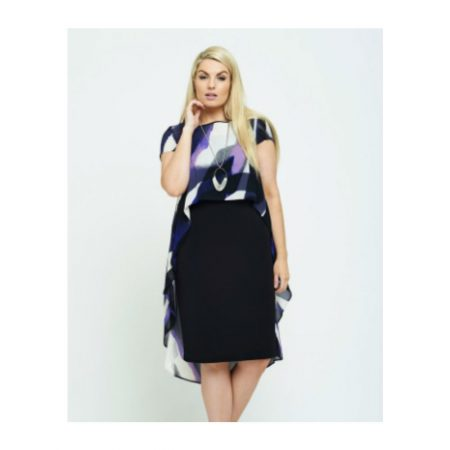 Personal Choice Black Dress Purple Chiffon Cape Set