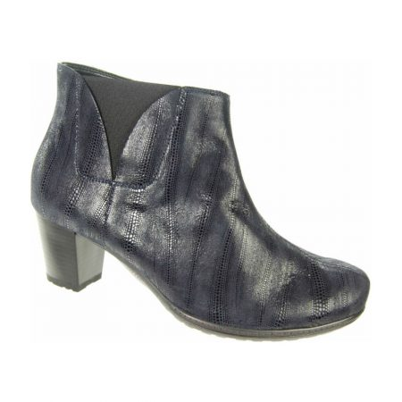 Alpina Gwen Navy Printed Leather Ankle Boots