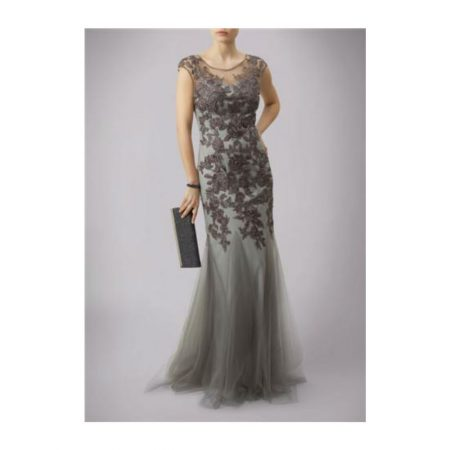Mascara Grey Floral Lace Evening Gown