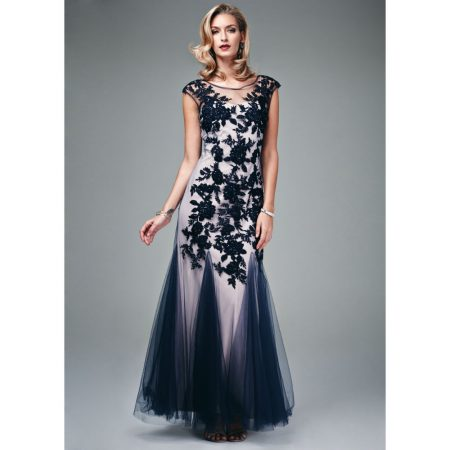 Mascara Navy Lace Evening Gown