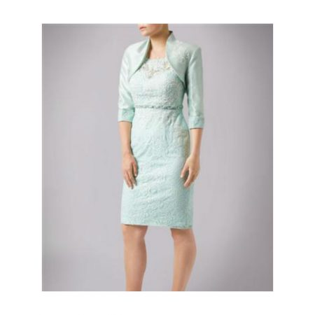 Mascara Mint Lace Dress Satin Jacket Set