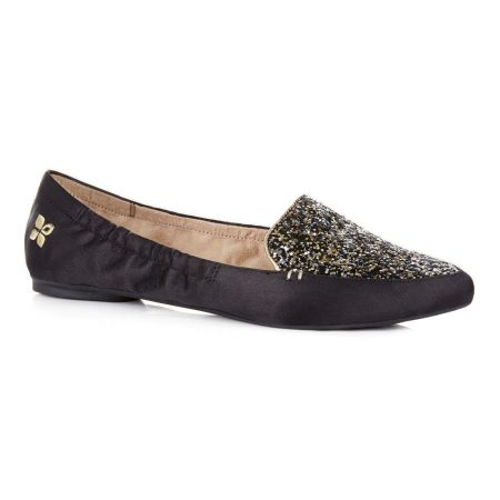 Butterfly Twists Amber Black Satin Glitter Foldable Flat Shoes