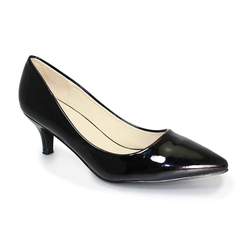 Lunar Celia Black Patent Kitten Heel Dress Shoes Brooks