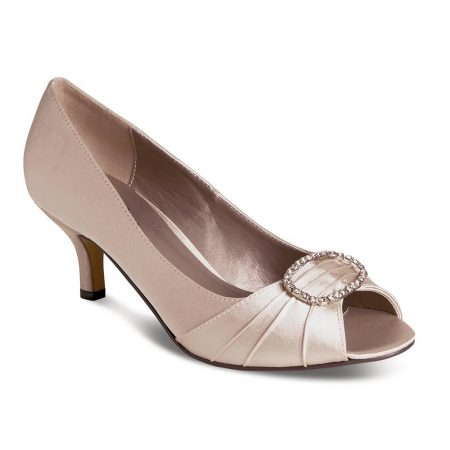 Lunar Rochelle Taupe Satin Kitten Heel Dress Shoes