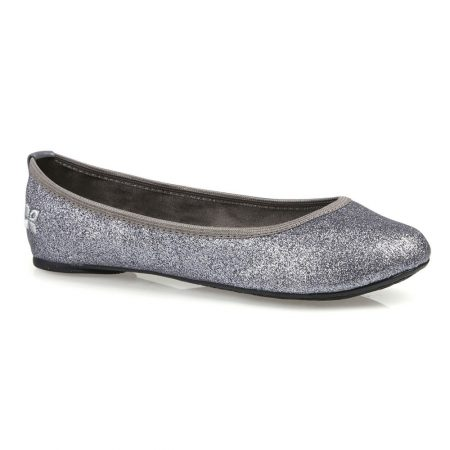 Butterfly Twists Samantha Pewter Glitter Foldable Flat Shoes