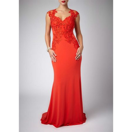Mascara Flame Red Embellished Evening Gown