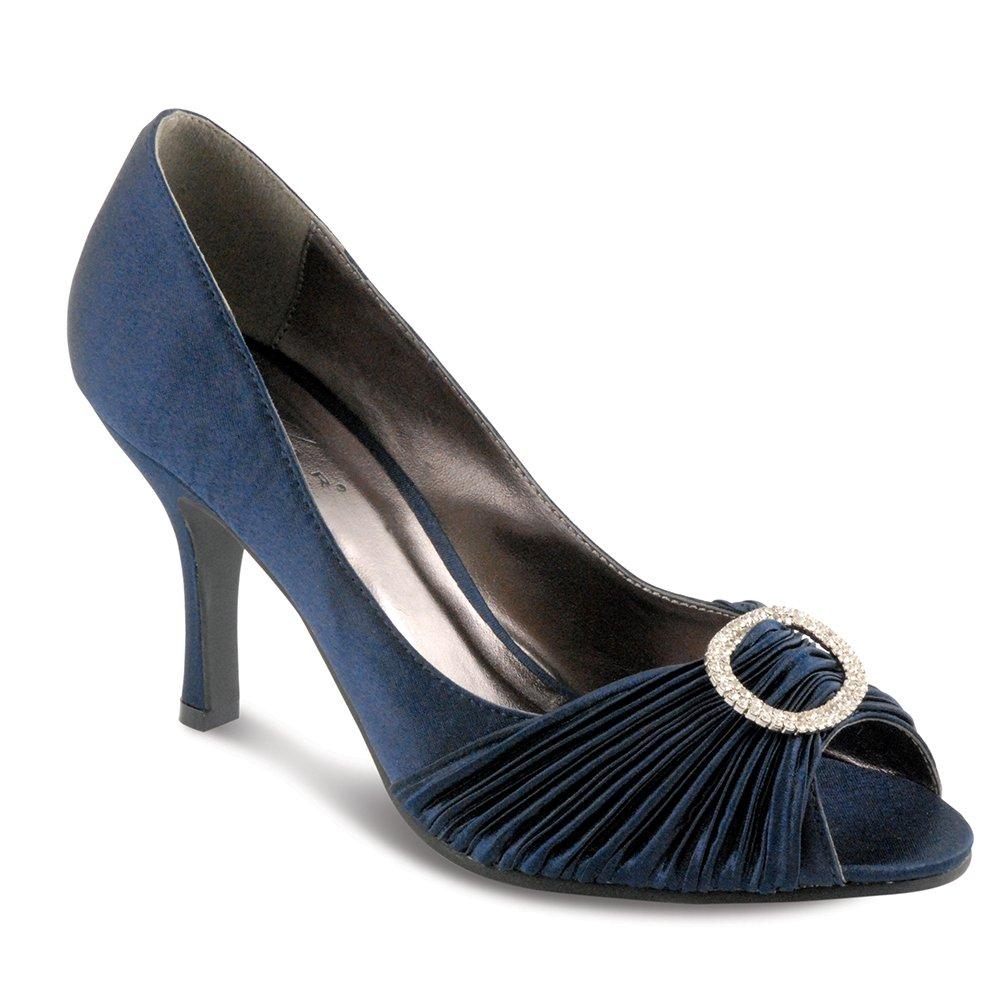 d93a1f31d5f5 Lunar Sienna Navy Satin Dress Shoes - Brooks Shops