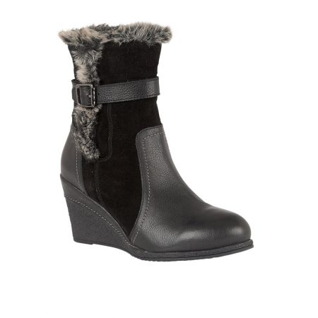 Lotus Varda Black Leather Wedge Boots