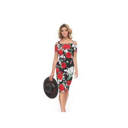 Michaela Louisa Statement Red Floral Dress