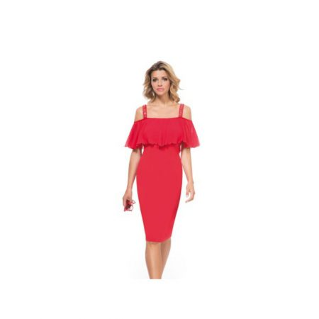 Michaela Louisa Red Frill Embellished Dress