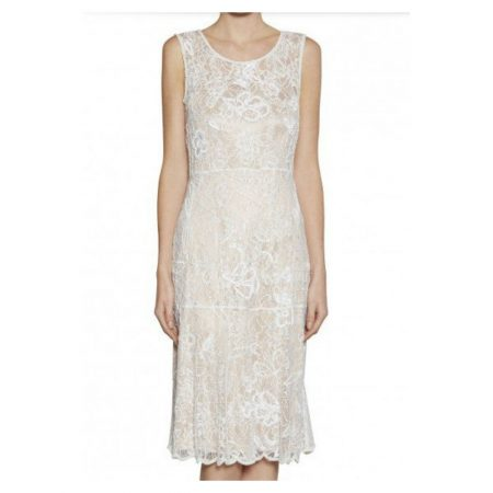 Gina Bacconi Embellished Cream White Dress