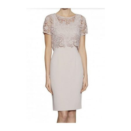 Gina Bacconi Taupe Floral Lace Dress