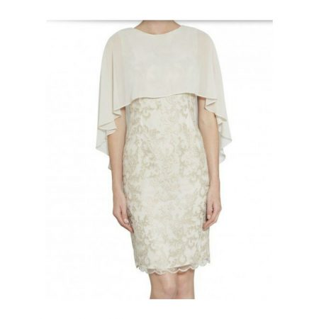 Gina Bacconi Butter Cream Chiffon Cape Dress