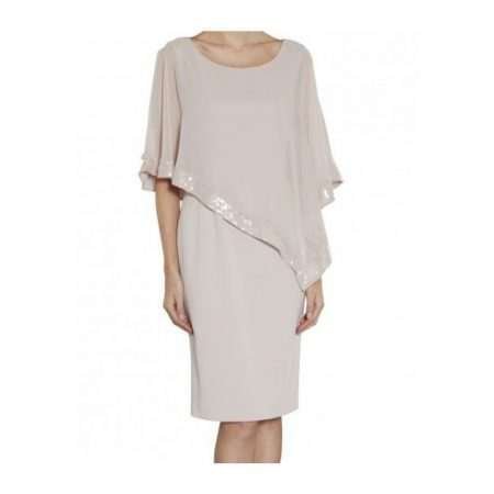 Gina Bacconi Silver Chiffon Sequin Dress