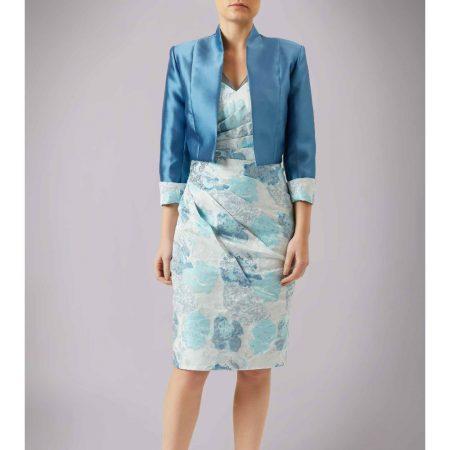 L'Atelier Blue Floral Dress Satin Jacket Set