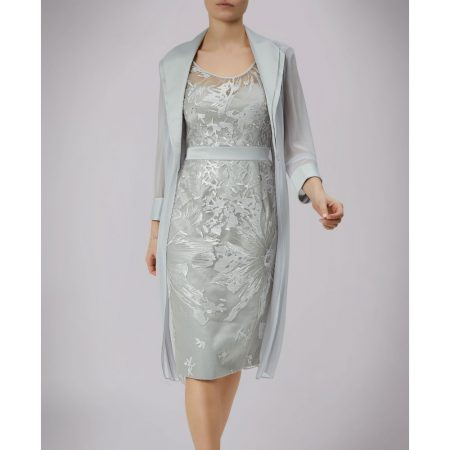 L'Atelier Silver Floral Dress Chiffon Jacket Set