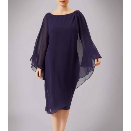 Mascara Aubergine Cape Sleeve Dress