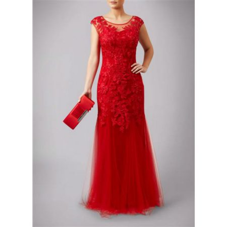 Mascara Red Floral Lace Evening Gown