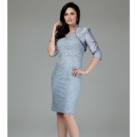 Mascara Silver Lace Dress Satin Jacket Set
